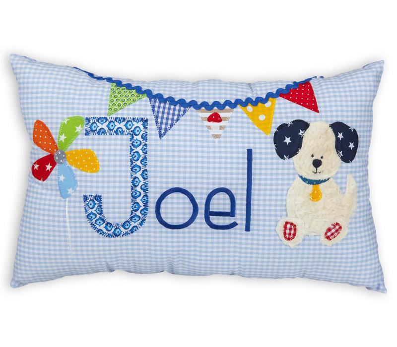 Namenskissen zur Geburt mit Hund, Farbe: Hellblau kariert