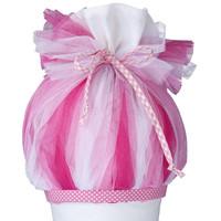 Tüll für Schultüte, Stoffschultüte Tüll, Farbe: pink, rosa, weiß
