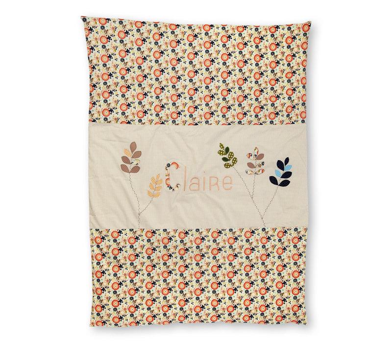 Krabbeldecke mit Namen, Namensdecke - Blütenblätter, Farbe: Beige, Apricot
