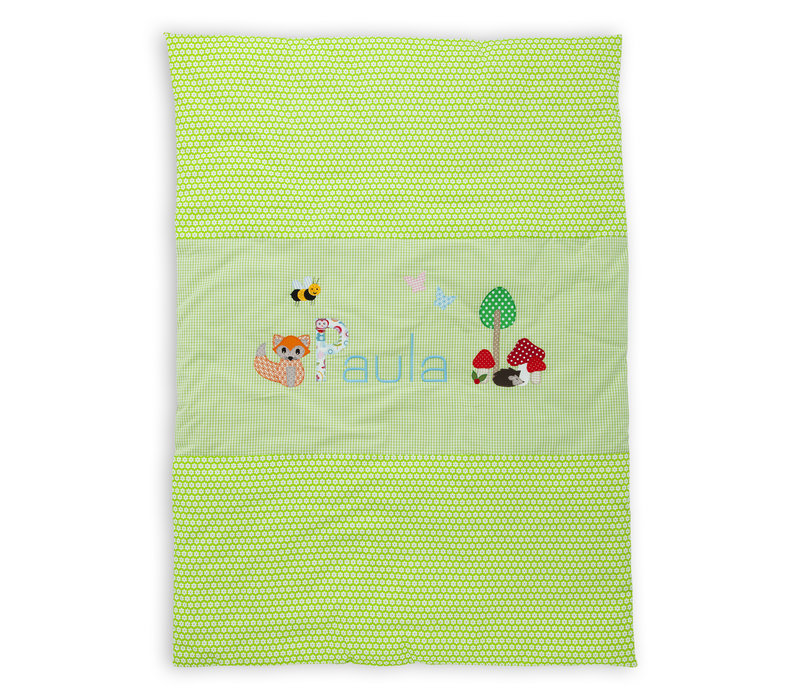 Krabbeldecke mit Namen, Namensdecke, Fuchs, Igel Farbe: Hellgrün Aqua