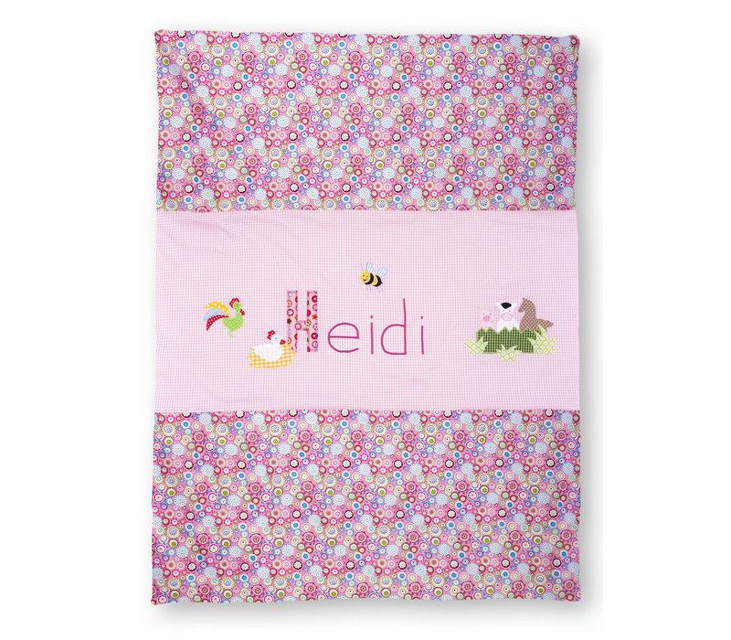 Krabbeldecke mit Namen, Namensdecke, Babydecke, Bauernhof, Farbe: Rosa
