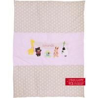 Krabbeldecke mit Namen, Namensdecke, Babydecke, Tierfreunde Farbe: Rosa Beige