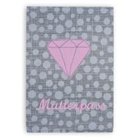 Mutterpasshülle aus Stoff mit Diamant bestickt, Farbe: Grau Rosa