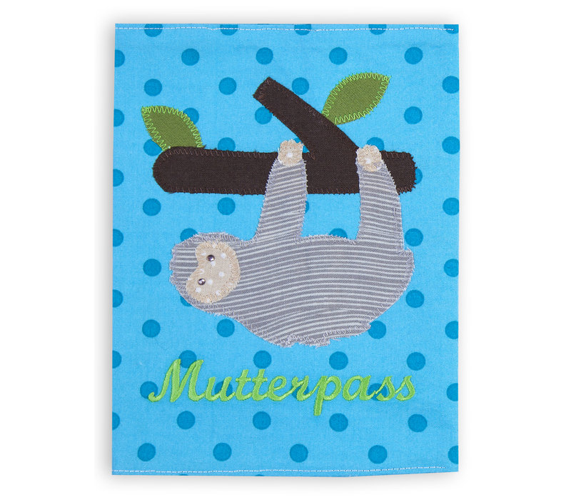 Mutterpasshülle aus Stoff mit Faultier bestickt, Farbe: Blau