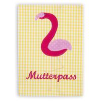 Mutterpasshülle aus Stoff mit Flamingo bestickt, Farbe: Gelb Pink