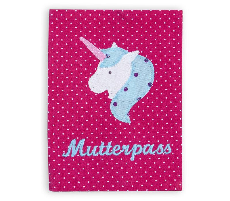 Mutterpasshülle aus Stoff mit Einhorn bestickt, Farbe: Pink