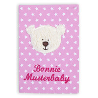 Untersuchungsheft Hülle  mit Bär,  Farbe: Rosa