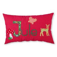 Kissen mit Namen bestickt für Waldfreunde mit einem Bambi in Rot (Modell Jule)