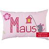 crêpes suzette Kissen mit Namen bestickt & niedlicher Maus mit Blumen, Farbe: Rosa kariert