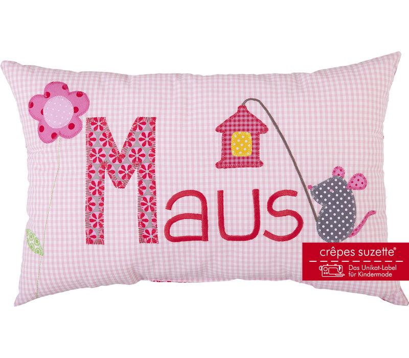 Kissen mit Namen bestickt & niedlicher Maus mit Blumen, Farbe: Rosa kariert