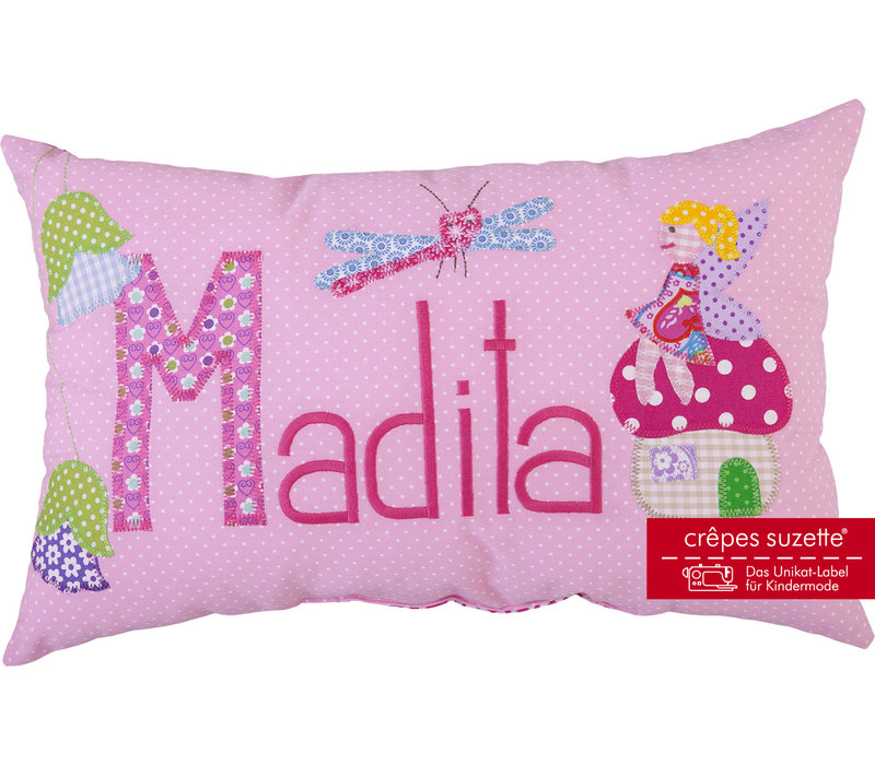 Namenskissen süße Fee im Märchenwald, Modell: Madita, Farbe: Rosa mit weißen Pünktchen