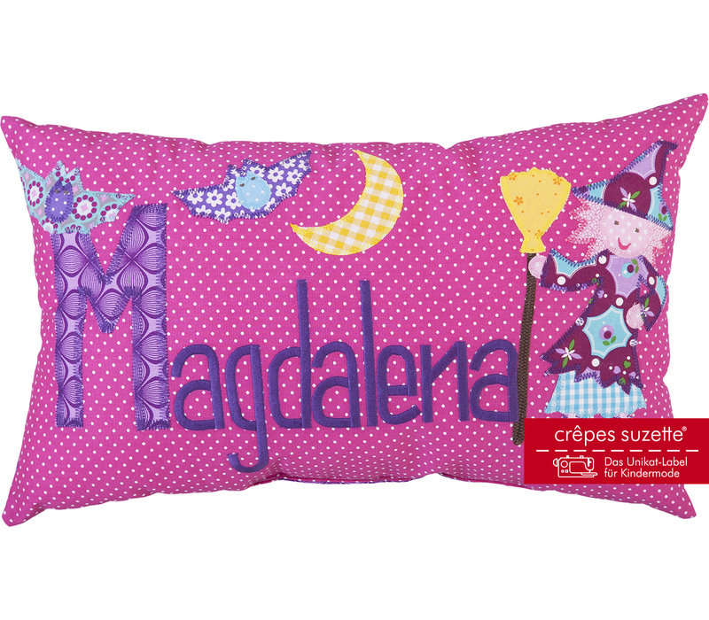Namenskissen mit Hexe und Fledermaus, Farbe: Pink kariert