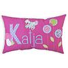 crêpes suzette Namenskissen Schmetterling und Blumen, Modell: Katja, Farbe: Pink kariert