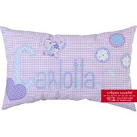 Namenskissen Schmetterling und Blumen, Modell: Carlotta, Farbe:  Flieder-Hellblau
