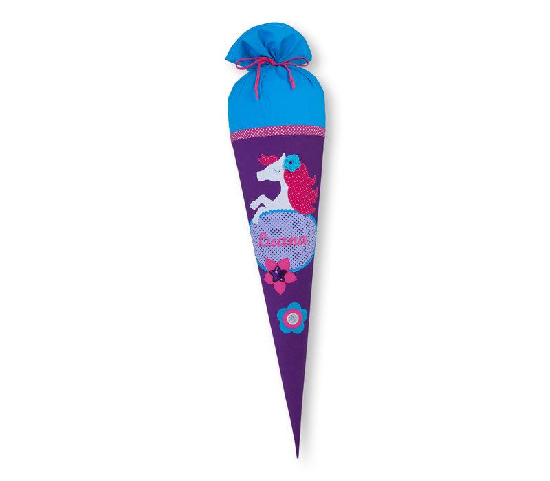 Schultüte aus Stoff Pferd für Mädchen, Farbe Lila Türkis