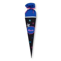 Schultüte aus Stoff Stern für Mädchen, Farbe Schwarz Blau