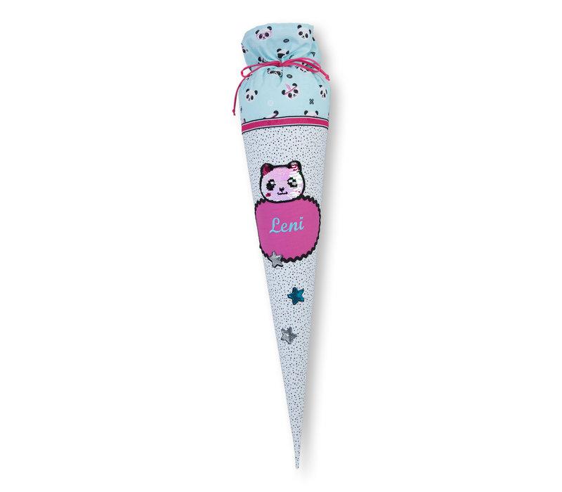 Schultüte aus Stoff Panda für Mädchen, Farbe Mint, Pink, Weiß