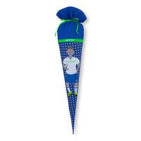 Schultüte aus Stoff,  Fussball, Fussballer mit Trikot Farbe : Blau mit grünen Details