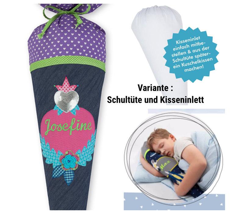 Schultüte aus Stoff Glitzerherz für Mädchen, Farbe Blau