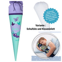 Schultüte aus Stoff, Libelle Schmetterling, Farbe: Flieder Mint