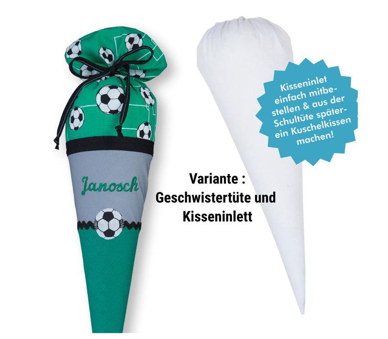 Geschwisterschultüte aus Stoff Fussball und Wunschnamen, Farbe Grün