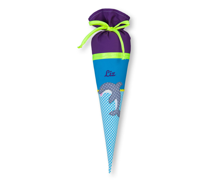 Geschwisterschultüte aus Stoff mit Delfin und Wunschnamen, Farbe Lila Türkis
