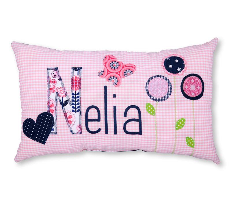 Namenskissen Vögelchen und Blumen, Modell: Nelia, Farbe: Rosa kariert