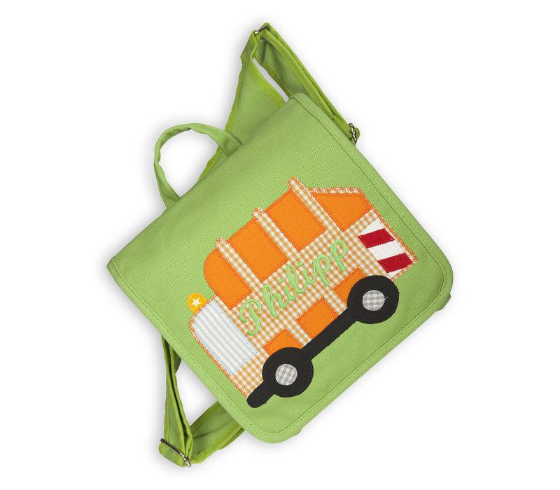 Kindergartentasche / Rucksack mit Namen bestickt. Müllauto