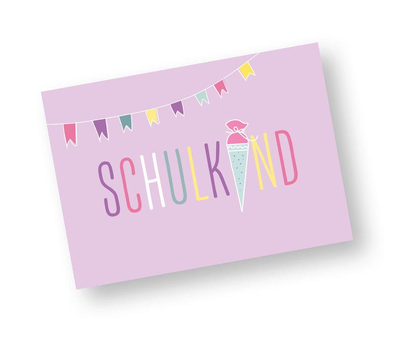 Postkarte Schulkind für Mädchen
