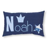 Namenskissen mit Krone und stern, Farbe: Dunkelblau - Hellblau
