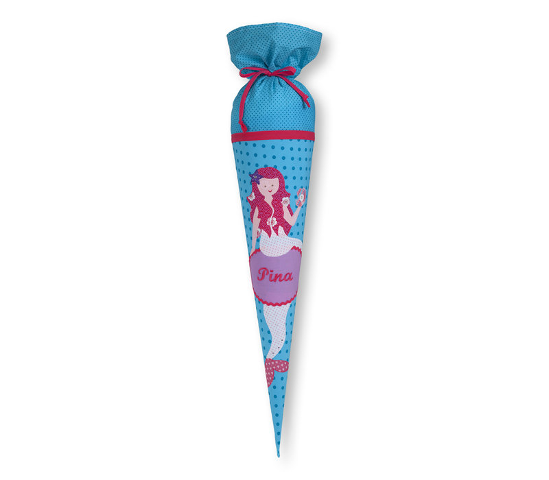 Schultüte aus Stoff,  Meerjungfrau, Farbe: Türkis, Pink