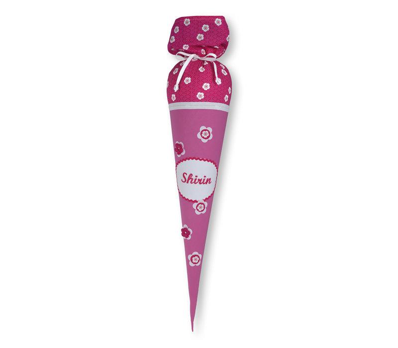 Schultüte aus Stoff mit Namen und Blumen , Farbe: Pink Weiß