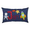 crêpes suzette Namenskissen mit Astronaut und Rakete, Farbe: Dunkelblau