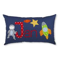 Namenskissen mit Astronaut und Rakete, Farbe: Dunkelblau
