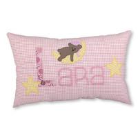 Kissen mit Namen bestickt und kleinem Schlafbär, Farbe: Rosa kariert