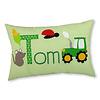 crêpes suzette Namenskissen Traktor und Bauernhof, Farbe: Grün kariert