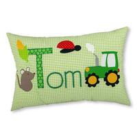 Namenskissen Traktor und Bauernhof, Farbe: Grün kariert