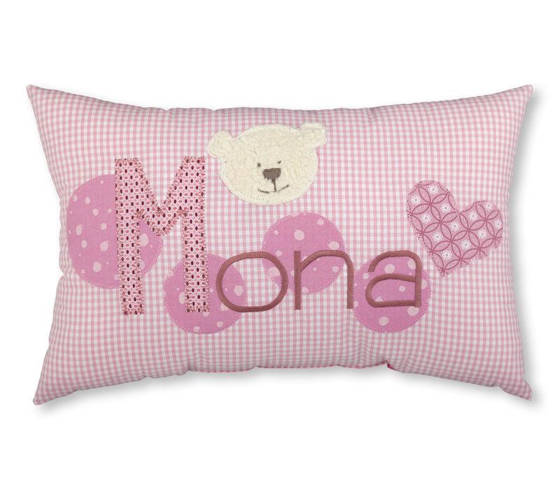 Kissen mit Namen bestickt und einem kleinen Bär, Farbe: Rosa kariert