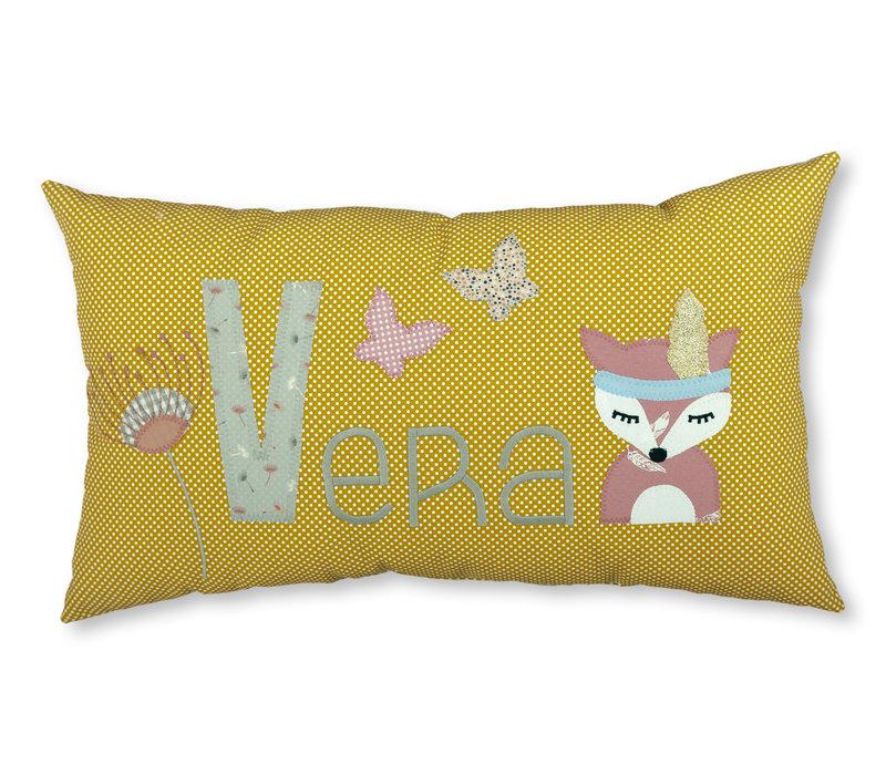 Individuelles Taufgeschenk Namenskissen mit Fuchs und Pusteblume, Farbe : Ocker, Senf