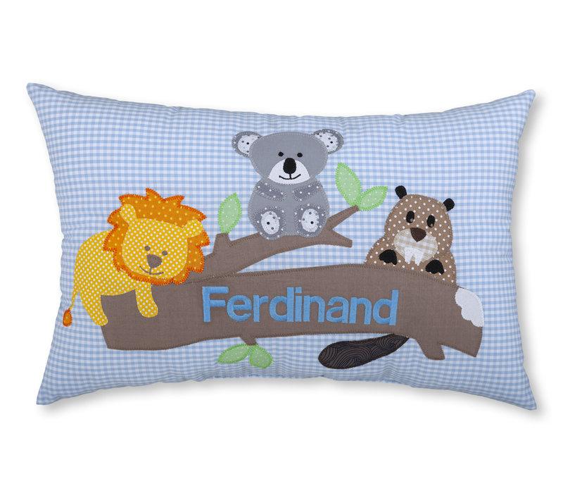 Namenskissen mit Löwe, Koalabär und Biber, Farbe: Hellblau