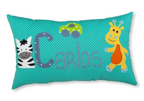 crêpes suzette Namenskissen mit Zebra und Giraffe