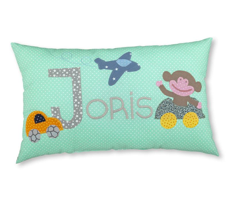 Namenskissen mit Affe, Auto und Flugzeug, Farbe: Mint