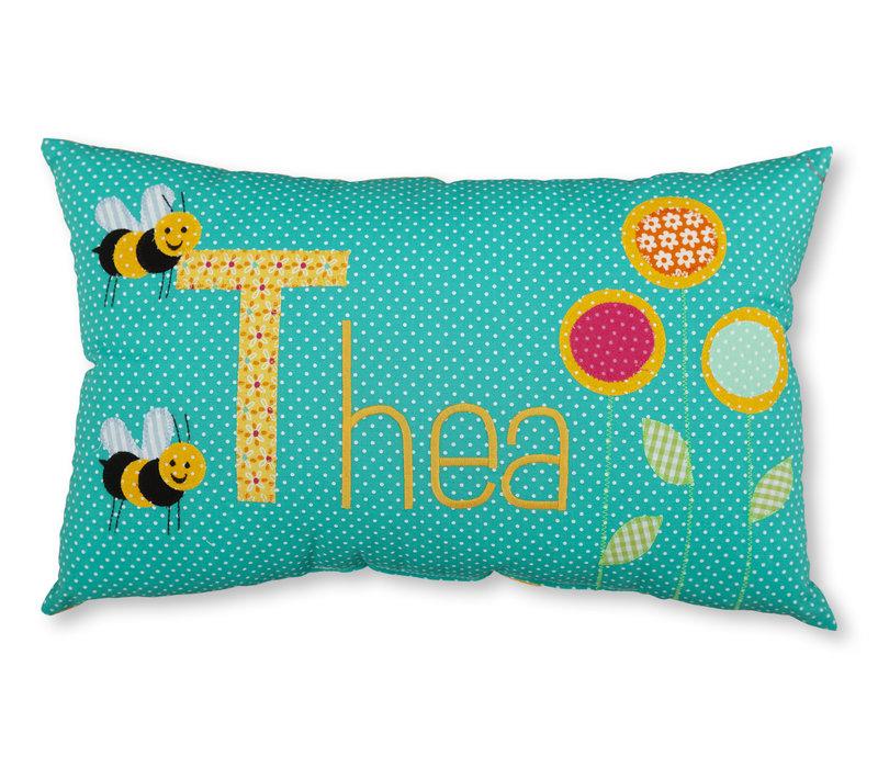 Namenskissen mit Bienen und Blumen als Geschenk zur Geburt,  Farbe: Petrol