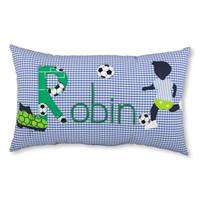 Kissen mit Namen für kleine Fussballfans, Farbe: Blau