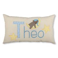 Namenskissen Schlafbär auf dem Mond Taufgeschenk, Farbe: Beige kariert, Hellblau