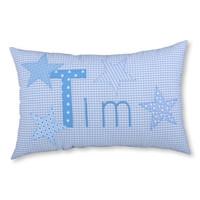 Namenskissen Sterne, Farbe: Hellblau kariert