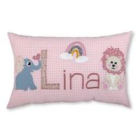 crêpes suzette Namenskissen zur Geburt mit Löwe und Elefant - Farbe: Rosa