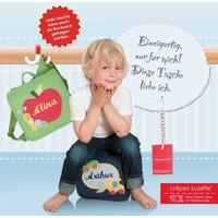 crêpes suzette Kindergartentasche wandelbar zum Rucksack mit Namen bestickt Regenbogen, Farbe Beige