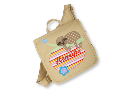 crêpes suzette crêpes suzette Kindergartentasche wandelbar zum Rucksack mit Namen bestickt, Faultier