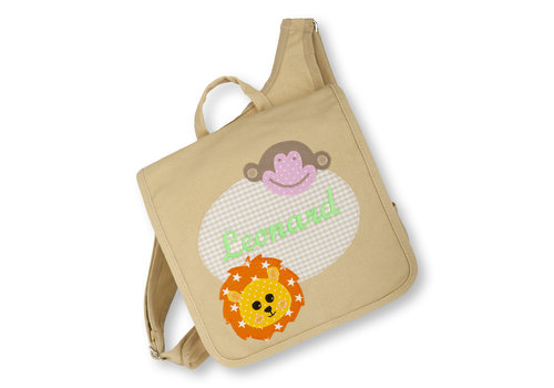 crêpes suzette crêpes suzette Kindergartentasche mit Namen bestickt Motiv: Löwe und Affe
